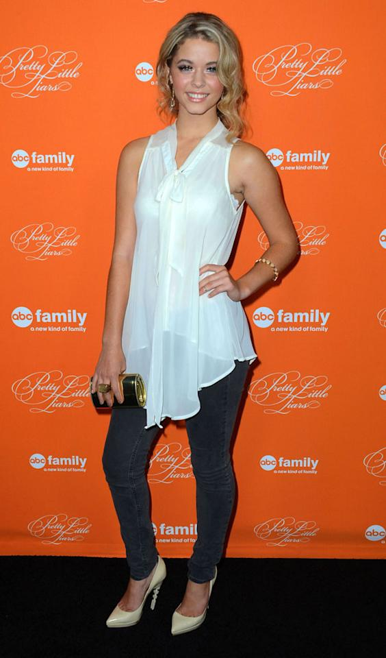 """Sasha Pieterse arrives at the screening of ABC Family's """"Pretty Little Liars"""" Special Halloween Episode at Hollywood Forever Cemetery on October 16, 2012 in Hollywood, California."""