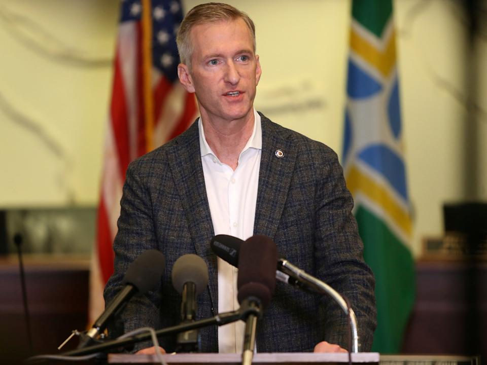 <p>Portland Mayor Ted Wheeler speaks during a news conference on 30 August 2020</p> ((Associated Press))