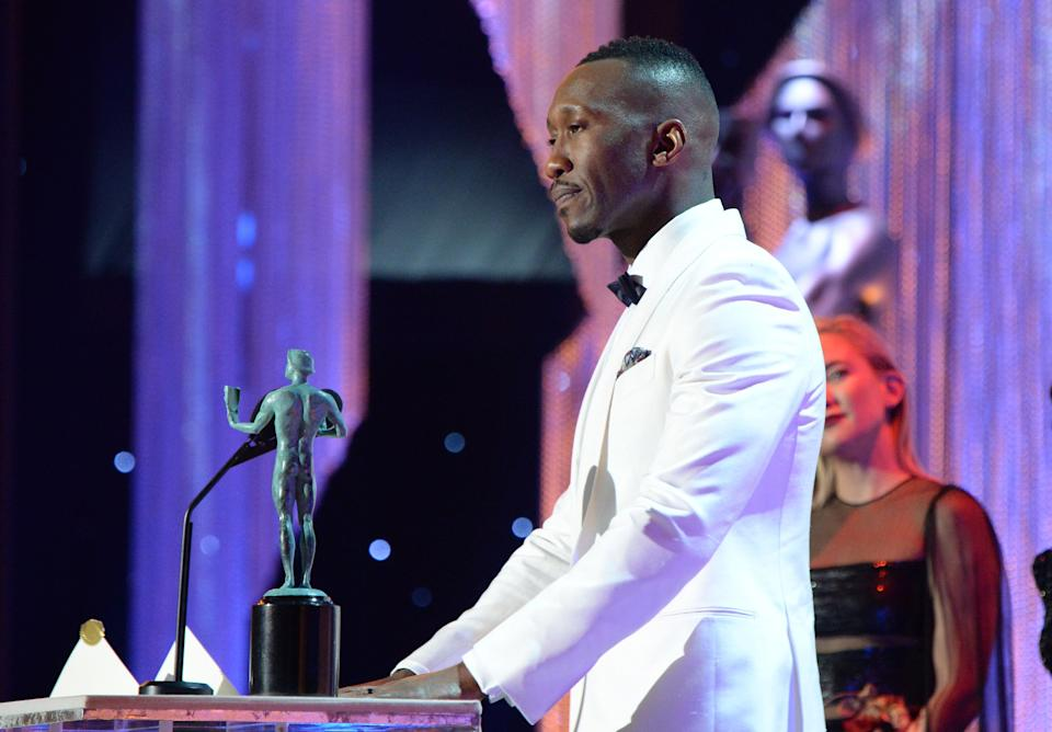 """Mahershala Ali during the 23rd annual Screen Actors Guild Awards.<br /><br />""""When we get caught up in the minutiae and the details that make us all different, I think there's two ways of seeing that. There's the opportunity to see the texture of that person, the characteristics that make them unique, and then there's an opportunity to go to war about it and say that this person is different from me, I don't like you, let's battle."""""""
