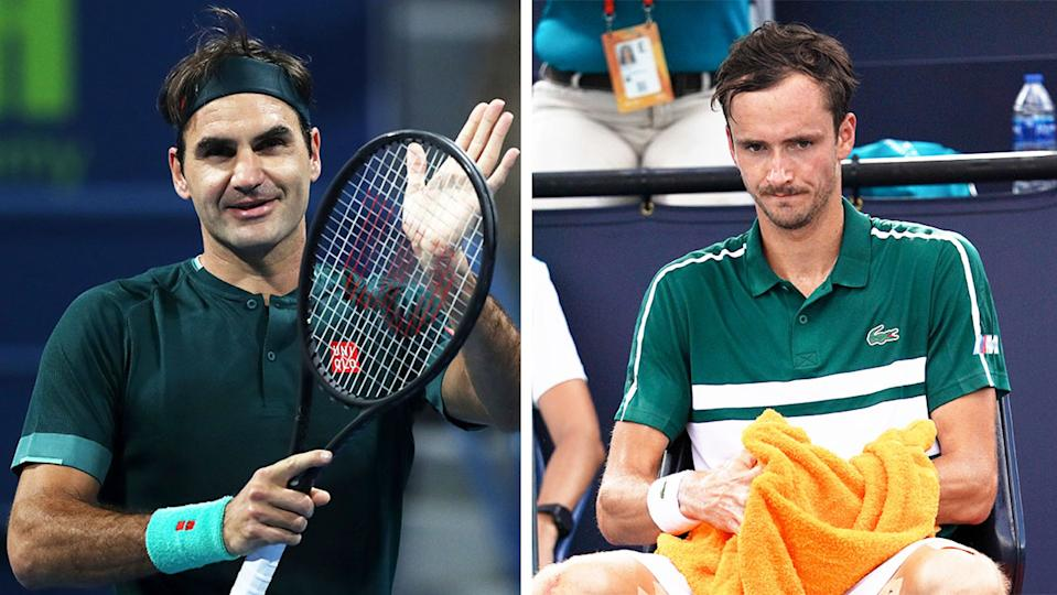 Daniil Medvedev (pictured right) looking frustrated between points and (pictured left) Roger Federer thanking the crowd.