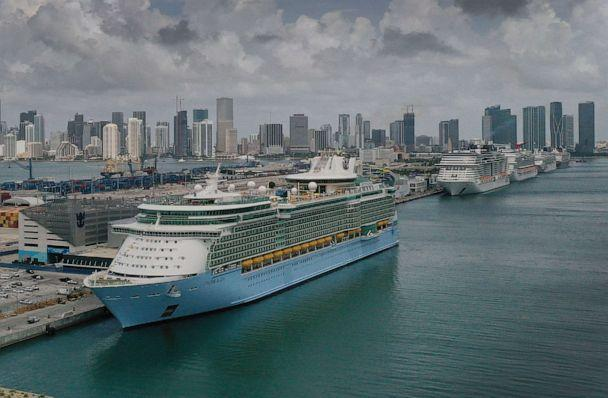 PHOTO: In an aerial view, the Royal Caribbean Freedom of the Seas (L) prepares to set sail from Port Miami during the first U.S. trial cruise testing COVID-19 protocols, June 20, 2021, in Miami, Fla. (Joe Raedle/Getty Images)