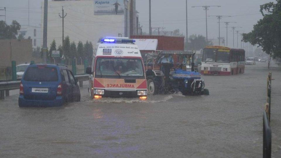A view of waterlogged NH 56 after heavy rains on September 16, 2021 in Lucknow, India. Continuous heavy rain on Thursday threw life out of gear in Lucknow and exposed the tall claims of the municipal corporation.