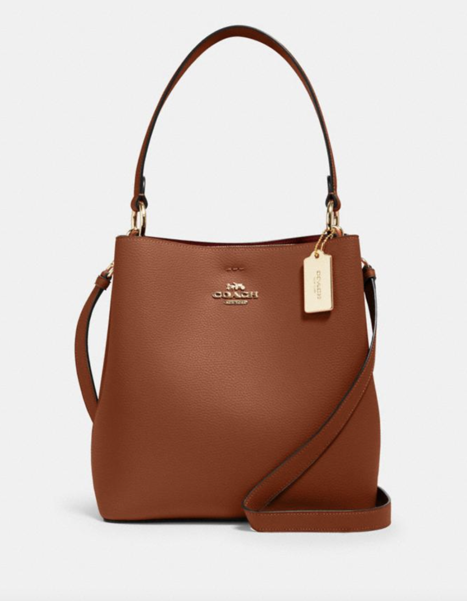 Town Bucket Bag in Redwood/1941 Red (Photo via Coach Outlet)