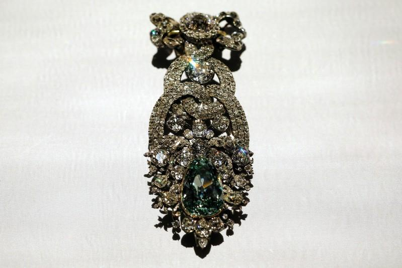 """FILE PHOTO: Hat Ornament with the """"Dresden Green"""" diamond is seen during press preview of """"Making Marvels, Science and Splendor at the Courts of Europe"""" at Metropolitan Museum of Art in New York"""