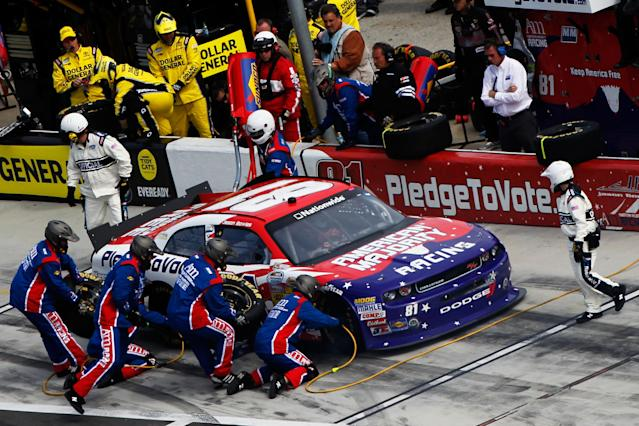 DAYTONA BEACH, FL - FEBRUARY 25: Jason Bowles, driver of the #81 PledgeToVote.com Dodge, pits during the NASCAR Nationwide Series DRIVE4COPD 300 at Daytona International Speedway on February 25, 2012 in Daytona Beach, Florida. (Photo by Tom Pennington/Getty Images for NASCAR)