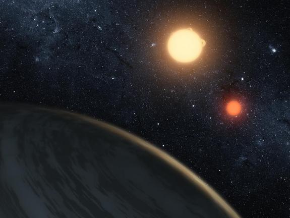 An artist's image of Kepler-16b, the first known planet to orbit both stars in a binary system.