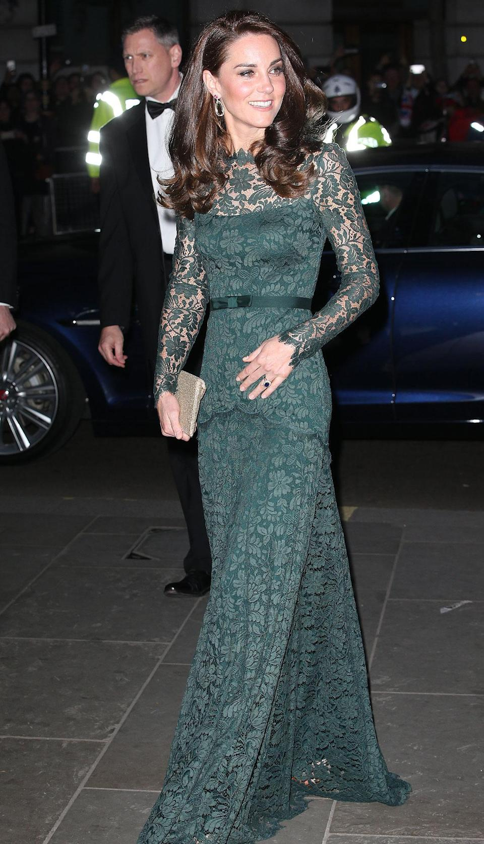 """<p><b>When:</b> March 28, 2017 <b>Where:</b> A gala at the National Portrait Gallery in London <b>Wearing:</b> A green Temperley London gown <b>Get the Look: </b>Eliza J Lace Fit & Flare Dress, $158; <a href=""""https://click.linksynergy.com/fs-bin/click?id=93xLBvPhAeE&subid=0&offerid=390098.1&type=10&tmpid=8157&RD_PARM1=https%253A%252F%252Fshop.nordstrom.com%252Fs%252Feliza-j-lace-fit-flare-dress%252F4855786%253Forigin%253Dkeywordsearch-personalizedsort%2526fashioncolor%253DGREEN&u1=POROYALSKateSpringStyleMM"""" rel=""""nofollow noopener"""" target=""""_blank"""" data-ylk=""""slk:nordstrom.com"""" class=""""link rapid-noclick-resp"""">nordstrom.com</a> ASOS Premium Lace Mini Skater Dress, $111; <a href=""""https://click.linksynergy.com/fs-bin/click?id=93xLBvPhAeE&subid=0&offerid=460292.1&type=10&tmpid=20904&RD_PARM1=http%3A%2F%2Fus.asos.com%2Fasos%2Fasos-premium-lace-mini-skater-dress%2Fprd%2F8800635%3Fclr%3Dforestgreen%2526SearchQuery%3Dgreen%2520lace%2520dress%2526gridcolumn%3D4%2526gridrow%3D11%2526gridsize%3D4%2526pge%3D1%2526pgesize%3D72%2526totalstyles%3D122&u1=POROYALSKateSpringStyleMM"""" rel=""""nofollow noopener"""" target=""""_blank"""" data-ylk=""""slk:asos.com"""" class=""""link rapid-noclick-resp"""">asos.com</a></p>"""