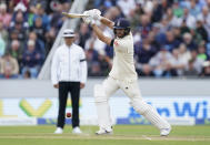 England's Dawid Malan bats during the second day of third test cricket match between England and India, at Headingley cricket ground in Leeds, England, Thursday, Aug. 26, 2021. (AP Photo/Jon Super)