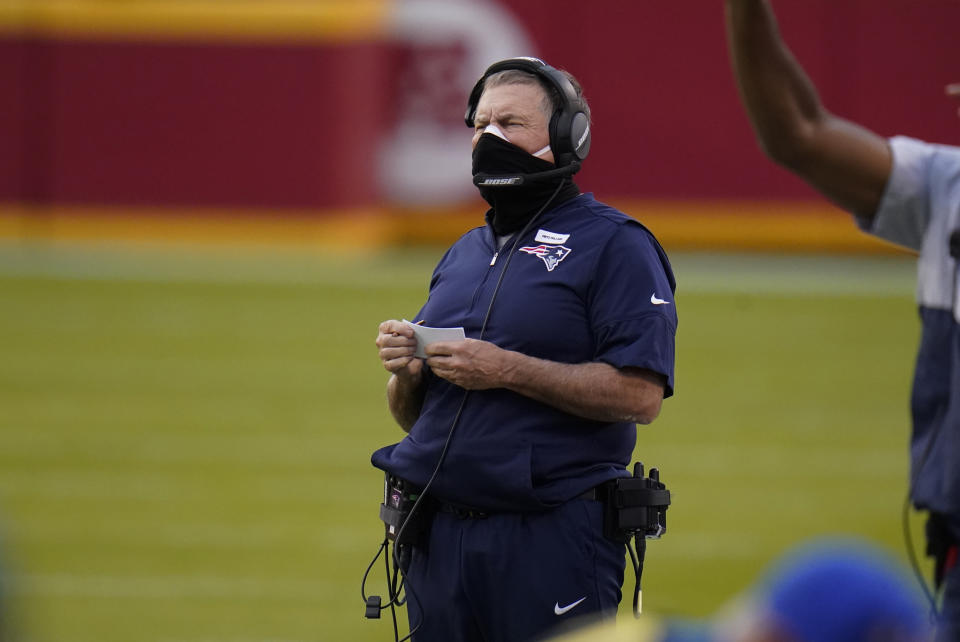 New England Patriots head coach Bill Belichick watches from the sideline during the first half of an NFL football game against the Kansas City Chiefs, Monday, Oct. 5, 2020, in Kansas City. (AP Photo/Jeff Roberson)
