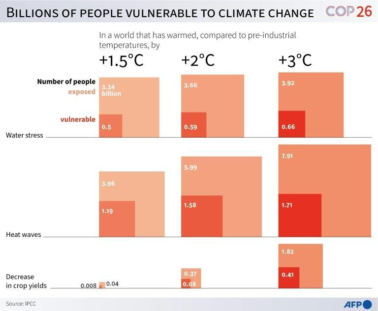 Billions of people vulnerable to climate change (AFP/Simon MALFATTO)