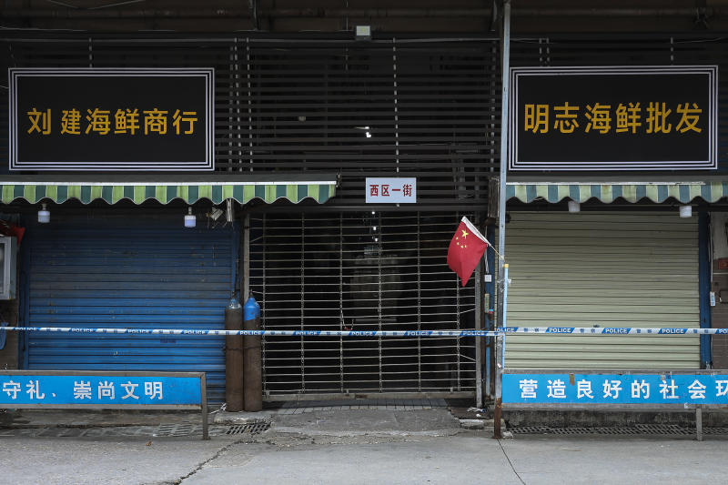 The closed Huanan Seafood Wholesale Market, which has been linked to cases of the new coronavirus, on 17 January, 2020, in Wuhan, China. (PHOTO: Getty Images)
