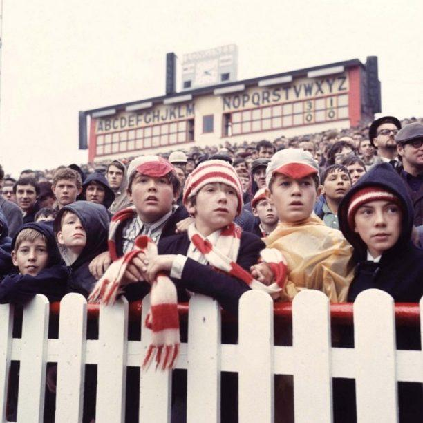 A football crowd at Old Trafford, home of Manchester United, in the 1960s - Credit: BBC