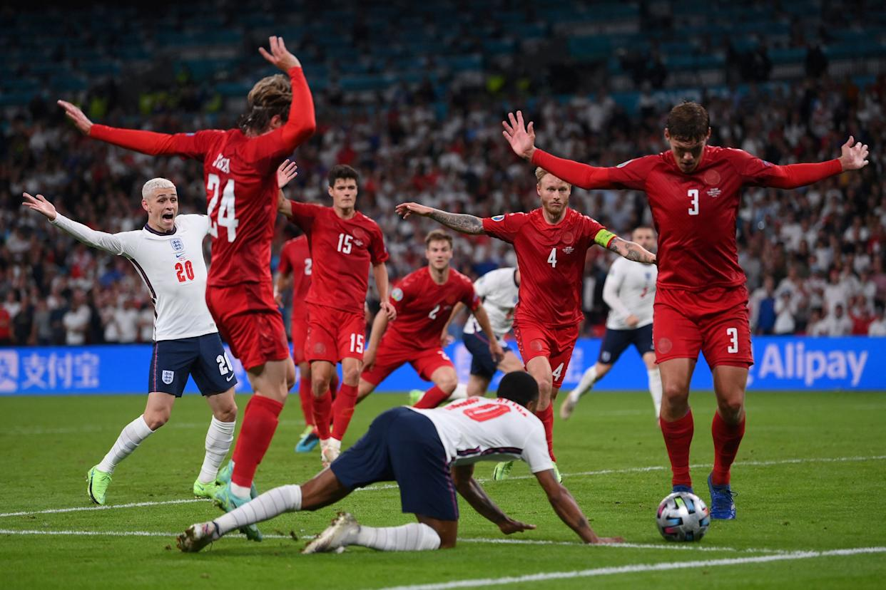 Raheem Sterling wins a penalty for England in the Euro 2020 semi-final against Denmark