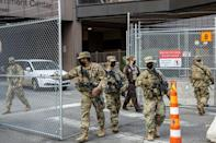 National Guard troops are providing security at the courthouse where a Minneapolis police officer is on trial for the death of George Floyd