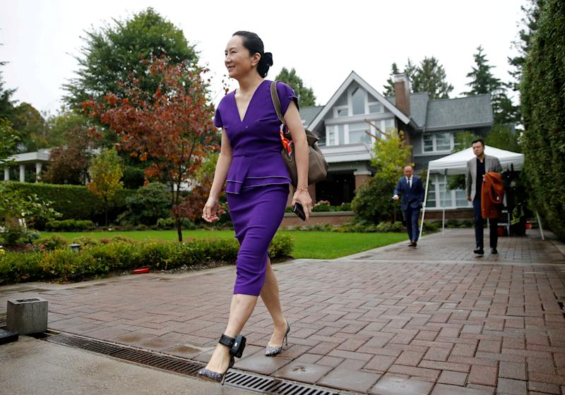 "Huawei Technologies Chief Financial Officer Meng Wanzhou leaves her home to appear for a hearing at British Columbia supreme court, in Vancouver, British Columbia, Canada September 23, 2019. REUTERS/Lindsey Wasson/File Photo SEARCH ""GLOBAL POY"" FOR THIS STORY. SEARCH ""REUTERS POY"" FOR ALL BEST OF 2019 PACKAGES. TPX IMAGES OF THE DAY."