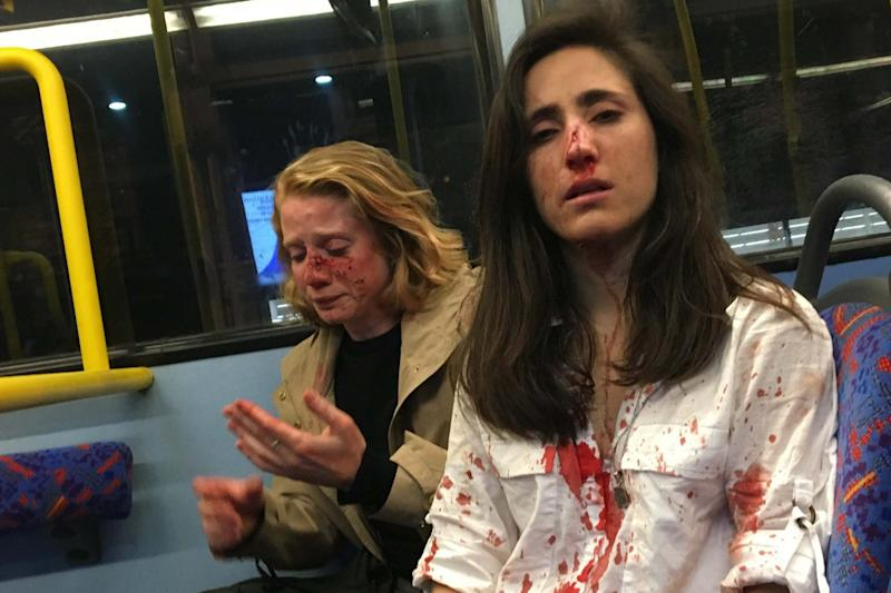 Melania Geymonat (r) and Chris were attacked on a night bus (Melania Geymonat)