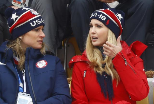 Snowboarding - Pyeongchang 2018 Winter Olympics - Men's Big Air Finals - Alpensia Ski Jumping Centre - Pyeongchang, South Korea - February 24, 2018 - U.S. President Donald Trump's daughter and senior White House adviser, Ivanka Trump is seen in the stands. REUTERS/Kai Pfaffenbach