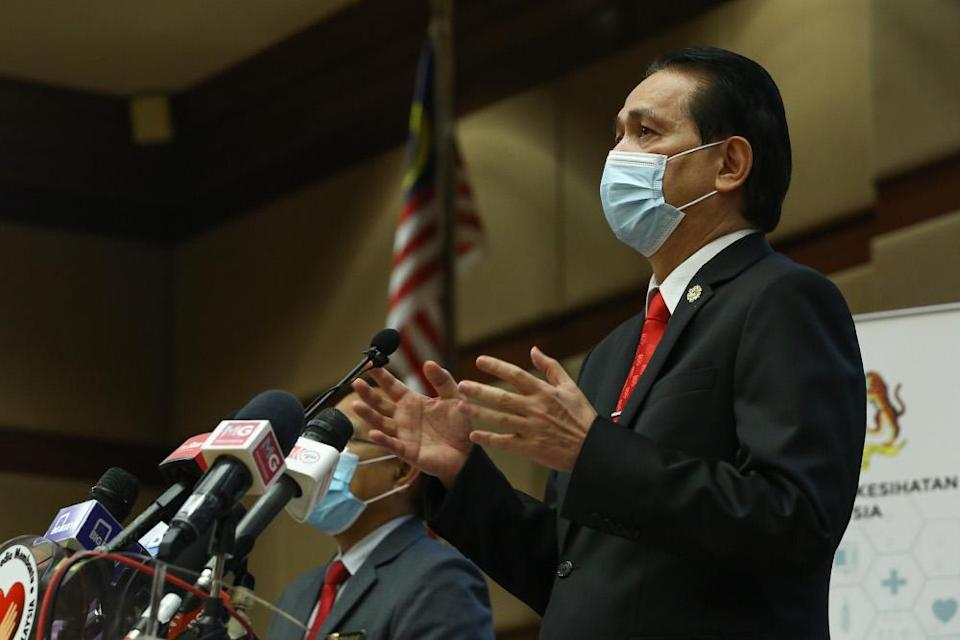 Health Director-General Tan Sri Dr Noor Hisham Abdullah speaks during a press conference in Putrajaya on November 11, 2020. — Picture by Yusof Mat Isa