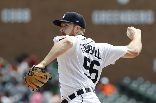 Detroit Tigers starting pitcher Spencer Turnbull throws during the first inning of a baseball game against the Oakland Athletics, Thursday, May 16, 2019, in Detroit. (AP Photo/Carlos Osorio)