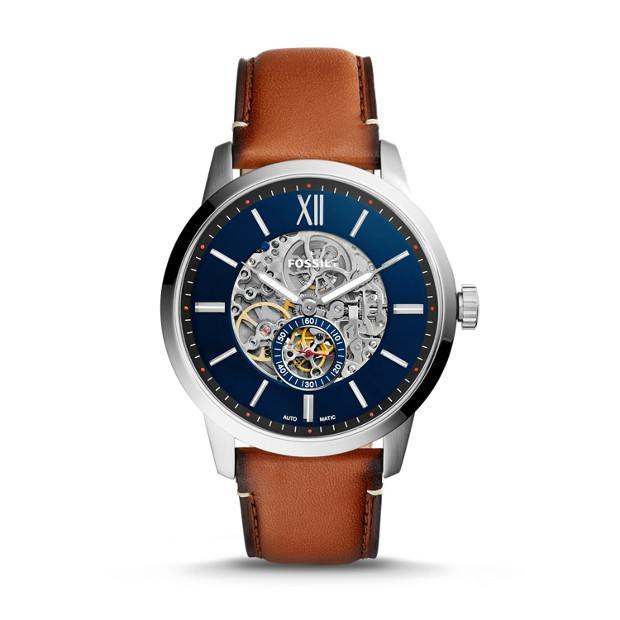 """<p>Fossil's Townsman 48mm automatic light brown leather watch, $225. Aviailable on <a href=""""https://www.fossil.com/us/en/products/townsman-48mm-automatic-light-brown-leather-watch-sku-me3154p.html"""" rel=""""nofollow noopener"""" target=""""_blank"""" data-ylk=""""slk:fossil.com"""" class=""""link rapid-noclick-resp"""">fossil.com</a> </p>"""