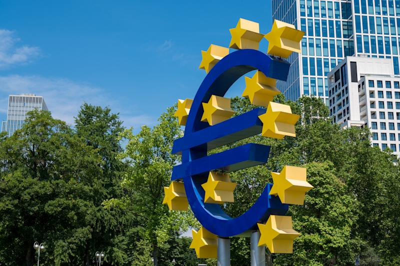 Large Euro symbol sculpture outside the European Central Bank in Frankfurt Main, Germany