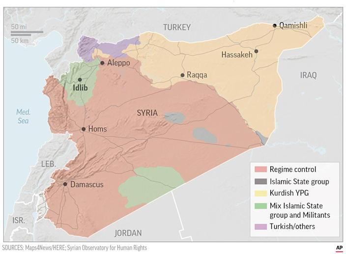 Map locates the areas of control in Syria. ; 3c x 4 inches; 146 mm x 101 mm;