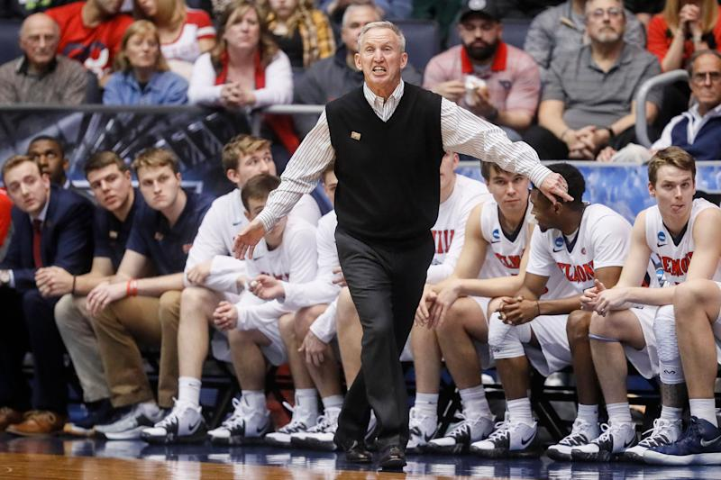 Belmont head coach Rick Byrd works the bench during the first half of a First Four game of the NCAA college basketball tournament against Temple, Tuesday, March 19, 2019, in Dayton, Ohio. (AP Photo/John Minchillo)