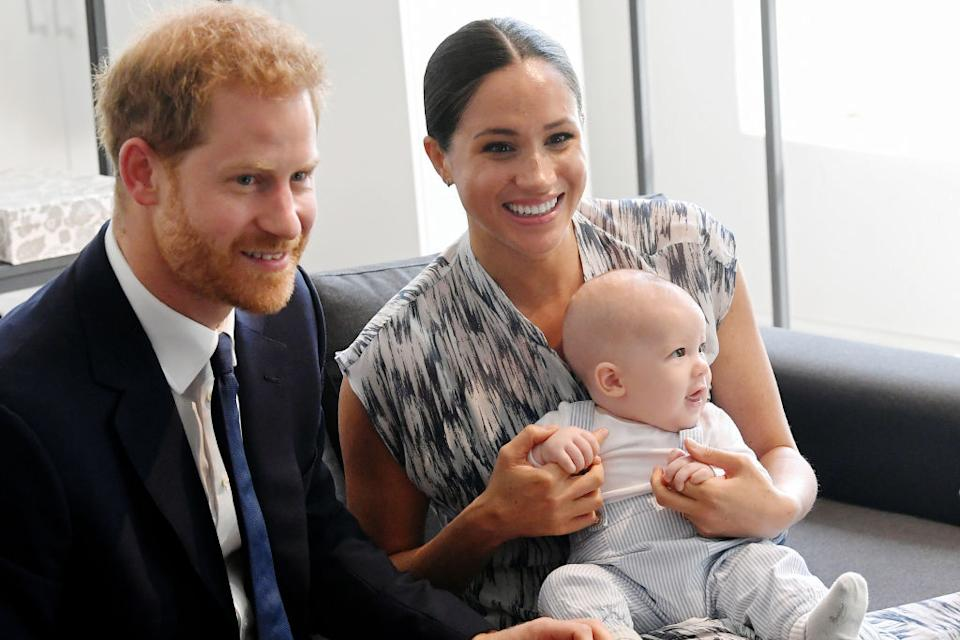 Prince Harry has sent a picture of baby Archie in a red rose babygro to the England Rugby team ahead of the world cup final [Photo: Getty]