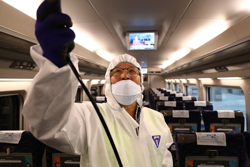 SEOUL, SOUTH KOREA - JANUARY 24: A disinfection worker wearing protective gears spray anti-septic solution in an train amid rising public concerns over the spread of China's Wuhan Coronavirus at SRT train station on January 24, 2020 in Seoul, South Korea. The number of cases of a deadly new coronavirus rose to over 800 in mainland China as health officials stepped up efforts to contain the spread of the pneumonia-like disease which medicals experts confirmed can be passed from human to human. The number of those who have died from the virus in China climbed to twentyfive on Wednesday and cases have been reported in other countries including the United States,Thailand, Japan, Taiwan and South Korea. (Photo by Chung Sung-Jun/Getty Images)