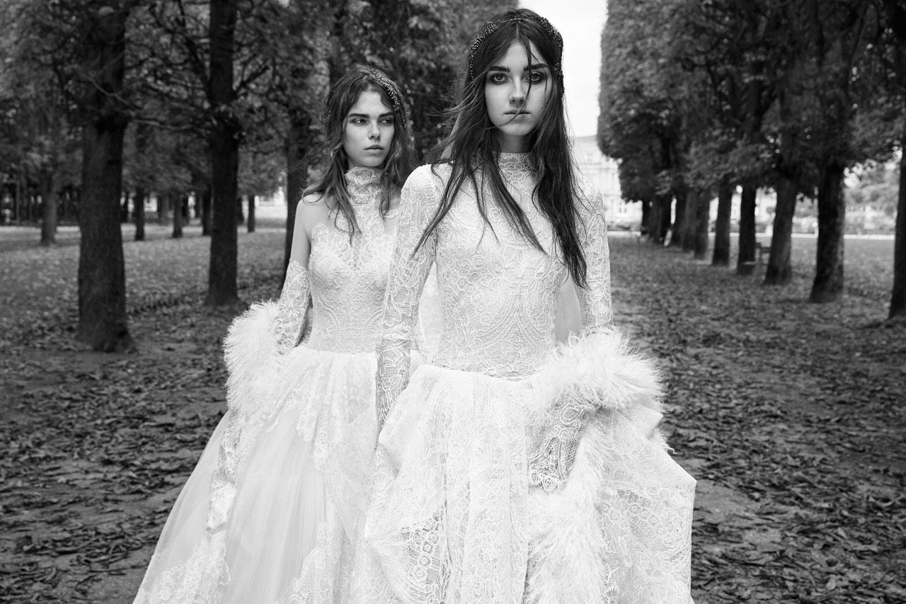 <p><i>From left, long-sleeve macrame lace ball gown with high-neck accent and couture draped skirt; long-sleeve ball gown with macramé lace panels. (Photo: Courtesy of Vera Wang/Patrick Demarchelier) </i></p>