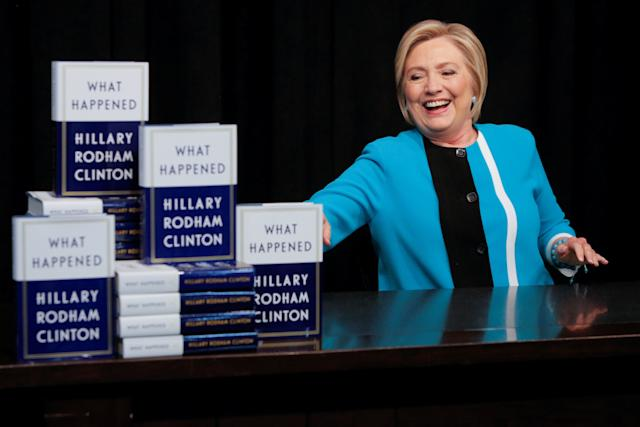 Hillary Clinton attends a book signing at the Union Square location of Barnes & Noble in New York City.