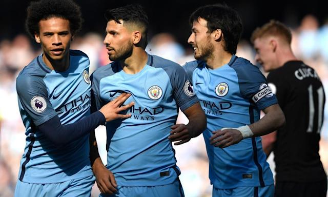 "<span class=""element-image__caption"">Sergio Agüero celebrates scoring the second goal for Man City against Hull.</span> <span class=""element-image__credit"">Photograph: Stu Forster/Getty Images</span>"