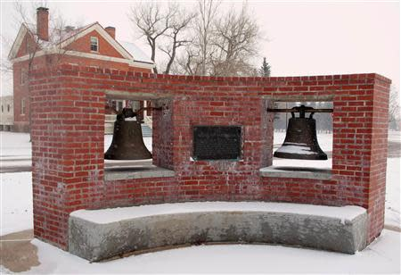 The Bells of Balangiga are seen near the parade field of F.E. Warren Air Force Base, near Cheyenne, Wyoming, November 21, 2013 in this handout provided by the U.S. Air Force, November 22, 2013. REUTERS/R.J. Oriez/U.S. Air Force/Handout via Reuters
