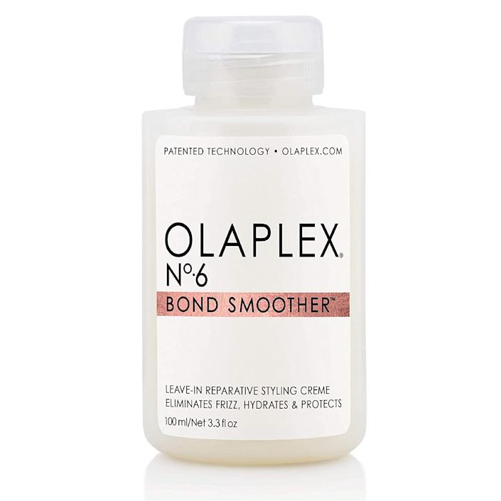 """<h3>Olaplex No 6 Bond Smoother</h3><br><strong>Alex</strong><br><br>""""I run a small amount of this stuff through my hair before drying, or even when air drying. It keeps my hair so soft and looking great even after using hot tools.""""<br><br><strong>Olaplex</strong> No 6 Bond Smoother, $, available at <a href=""""https://amzn.to/2CfhOE5"""" rel=""""nofollow noopener"""" target=""""_blank"""" data-ylk=""""slk:Amazon"""" class=""""link rapid-noclick-resp"""">Amazon</a>"""