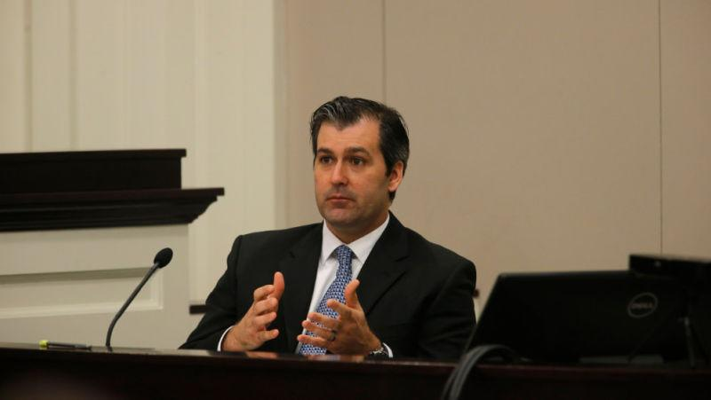 Former North Charleston police officer Michael Slager testifies during his murder trial at the Charleston County court November 29, 2016 in Charleston, S.C. A judge is considering whether jurors will visit the spot where Slager is accused of shooting and killing Walter Scott, an unarmed black man during a traffic stop in North Charleston.