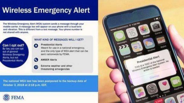 PHOTO: A photo from the Federal Emergency Management Agency shows what the alert will look like for a nationwide test scheduled for October 3, 2018. (Federal Emergency Management Agency)