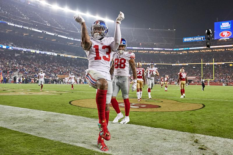 SANTA CLARA, CA - NOVEMBER 12: New York Giants wide receiver Odell Beckham (13) celebrates with a dance after scoring a touchdown during the NFL game between the New York Giants and the San Francisco 49ers on November 12, 2018 at Levi's Stadium in Santa Clara, CA. (Photo by Robin Alam/Icon Sportswire via Getty Images)