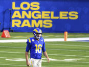 Quarterback Jared Goff #16 of the Los Angeles Rams against the Seattle Seahawks in the first half of a NFL football game at SoFi Stadium in Inglewood on Sunday, November 15, 2020. (Keith Birmingham/The Orange County Register via AP)