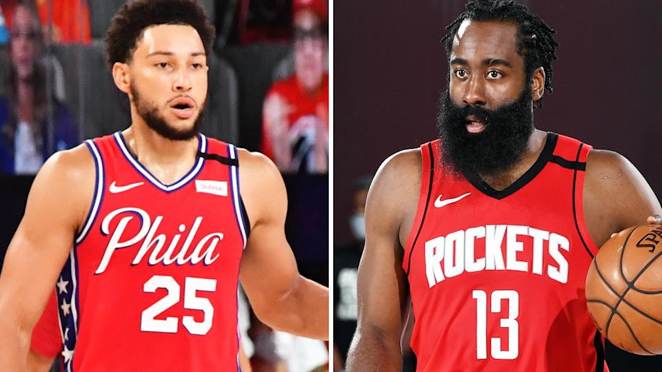 Ben Simmons has been brought up as a central piece in a potential trade for former NBA MVP James Harden, who wants out of Houston. Pictures: Getty Images