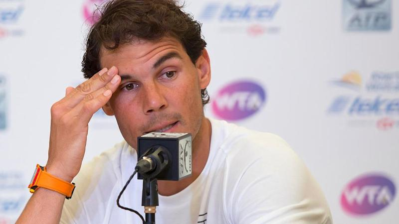 Nadal was distraught after pulling out of the Mexican Open. Pic: Getty