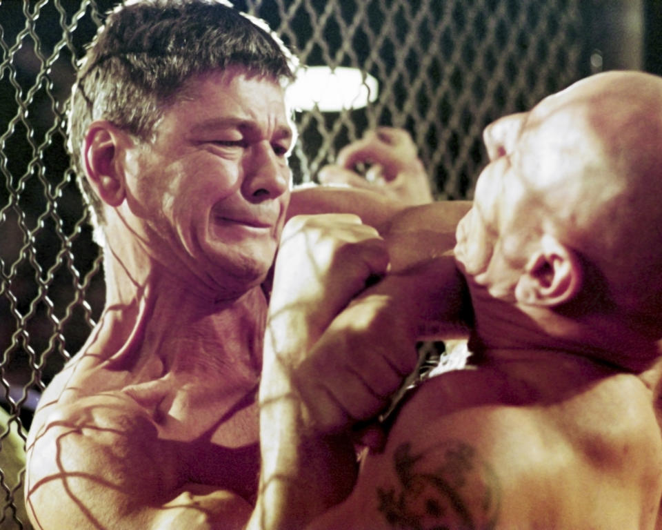 Actor Charles Bronson (1921 - 2003, left) as illegal prize-fighter Chaney, taking on Robert Tessier (1934 - 1990) as Jim Henry in the film 'Hard Times', directed by Walter Hill, 1975.   (Photo by Silver Screen Collection/Getty Images)