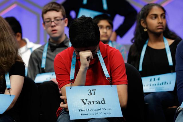 <p>Varad Mulay, 13, of Novi, Mich., listens to competition with other finalists in the 90th Scripps National Spelling Bee in Oxon Hill, Md., Thursday, June 1, 2017. (AP Photo/Jacquelyn Martin) </p>
