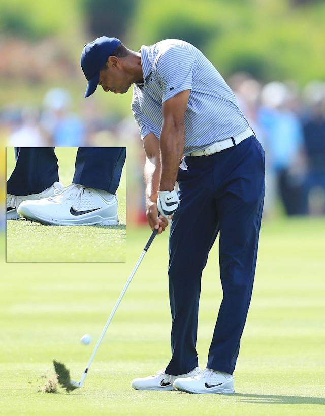 These Tiger Woods and Brooks Koepka photographs go together very well—and not just because both players bomb it. Both players understand that you have to be able to support swing speed with your body. Look at Tiger's front foot, and how the edge of it is braced into the ground like a post. He's whipping against that stable front leg to sling the club through the ball.