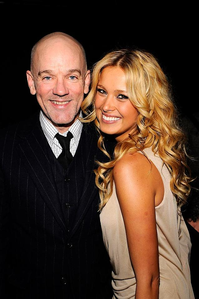 """R.E.M. frontman Michael Stipe cozies up to supermodel Petra Nemcova at the festivities, held at Abigail Kirsch's Pier Sixty. Larry Busacca/<a href=""""http://www.wireimage.com"""" target=""""new"""">WireImage.com</a> - April 7, 2008"""