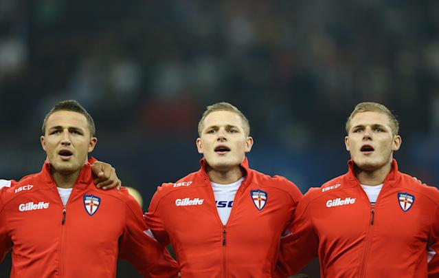 Sam Burgess (L), George (C) and Tom Burgess (R) for England (Credit: Getty Images)