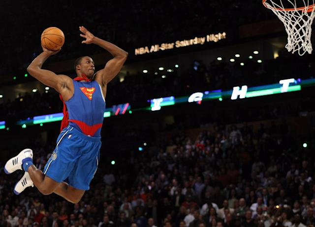 Dwight Howard returns to the NBA Slam Dunk Contest, 12 years after his famous Superman slam in 2008. (Timothy A. Clary/AFP/Getty Images)