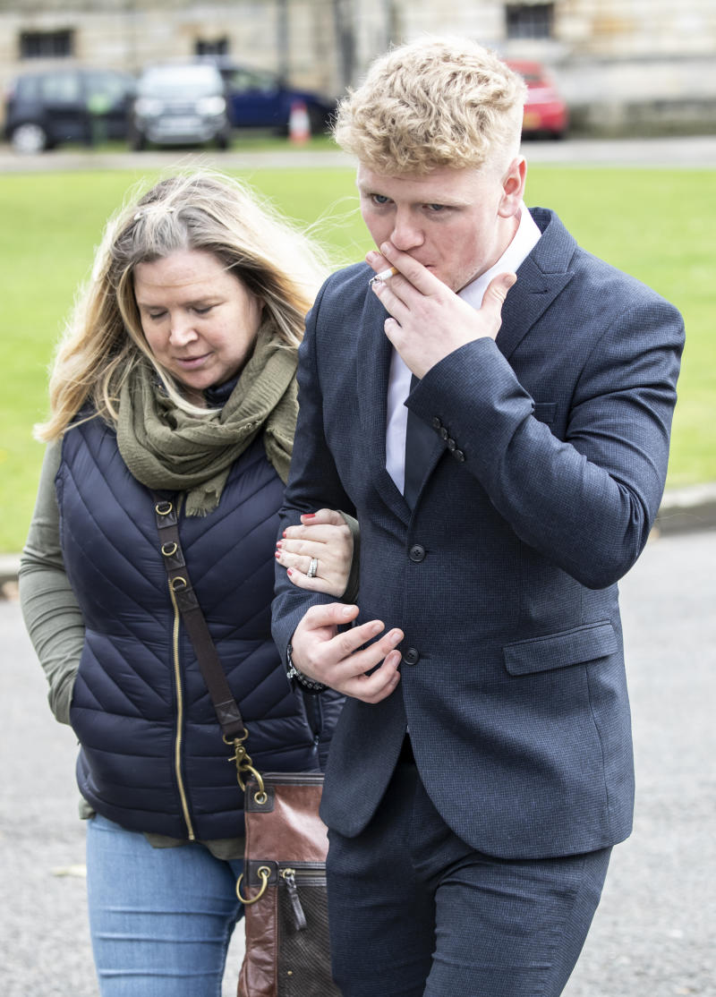 Dale Kelly leaves York Crown Court with an unknown woman, after the jury found he sexually assaulted a woman but was suffering from the sleep disorder parasomnia at the time and was therefore not responsible for his actions. PA Photo. Picture date: Friday October 4, 2019. The jury returned the rare verdict of not guilty by reason of insanity on the charge of sexual assault by penetration .Photo credit should read: Danny Lawson/PA Wire