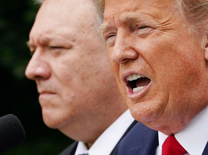 US president Donald Trump and Mike Pompeo, US secretary of state  (AFP via Getty Images)