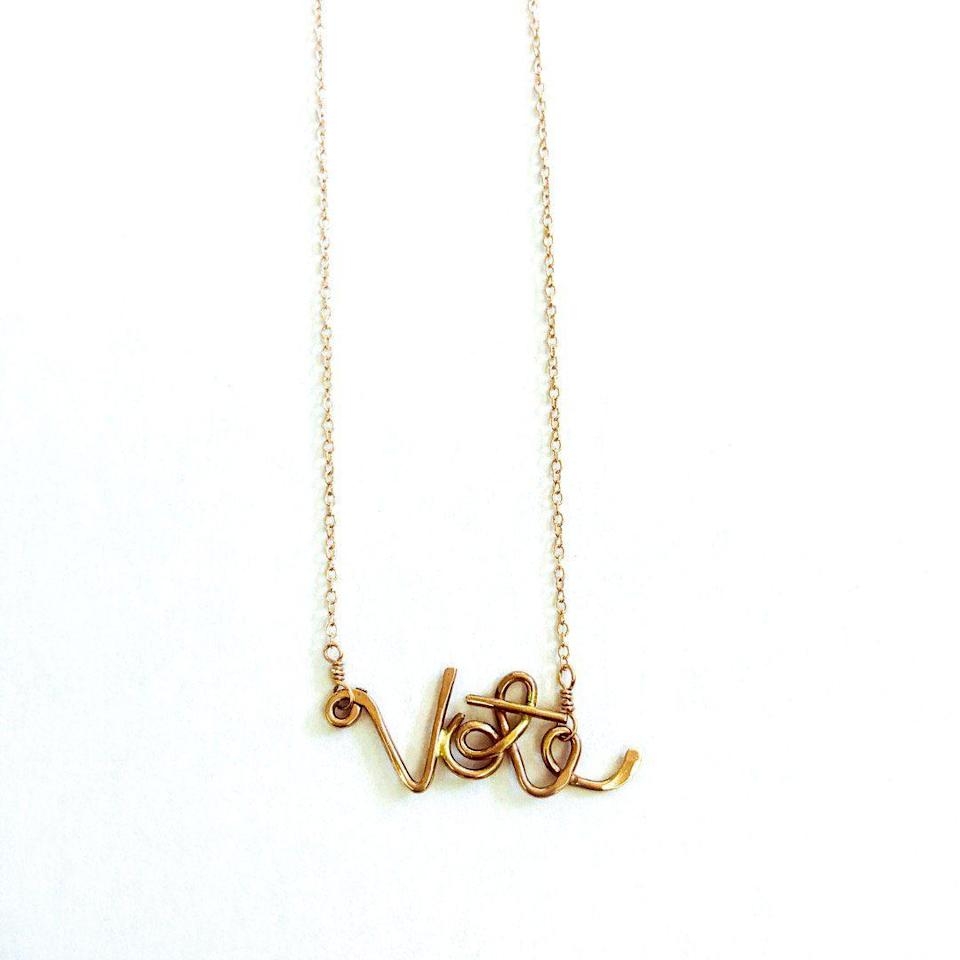 """<p><strong>vote</strong></p><p>adorn512.com</p><p><strong>$48.00</strong></p><p><a href=""""https://www.adorn512.com/collections/vote/products/vote-scripted-necklace?variant=35890147164312"""" rel=""""nofollow noopener"""" target=""""_blank"""" data-ylk=""""slk:Shop Now"""" class=""""link rapid-noclick-resp"""">Shop Now</a></p>"""