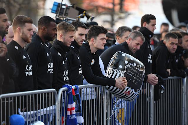 Leicester players line up alongside Harry Maguire (Photo by Mike Egerton/PA Images via Getty Images)
